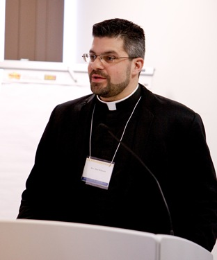 Sean Reynolds, director of the office of Youth and Young Adult Ministry for the Archdiocese of Cincinnati, leads the March 5 Boston Symposium on Adolescent Catechesis at the archdiocese's Pastoral Center. Pilot photo/ Gregory L. Tracy