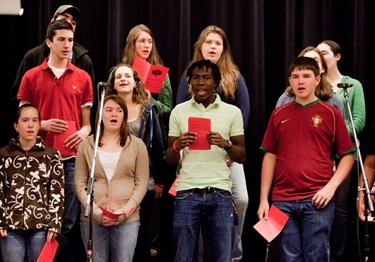 JThese high school students performed alongside Jon Niven at the Catholic Youth Rally at Xaverian HS.