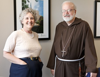 Rev. Diane Kessler meets with Cardinal O'malley at the Boston Archdiocese's Pastoral Center Aug. 7, 2009. Pilot photo/ Gregory L. Tracy