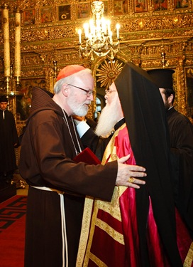 Cardinal O'Malley and Patriarch Bartholomew embrace Sept. 22, 2007 following a celebration of vespers at the Patriarchate of Constantinople.   Pilot photo/ Gregory L. Tracy
