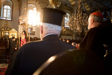 Catholic-Orthodox pilgrims celebrate Great Vespers with Partriarch Bartholomew I followed by a private audience. Pilot photo/ Gregory L. Tracy