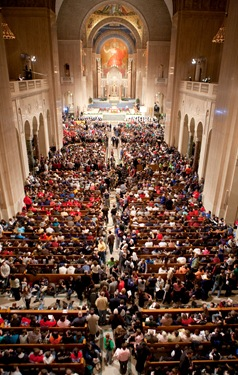 Opening Mass of the National Prayer Vigil for Life Jan. 21, 2010 at the Basilica Shrine of the Immaculate Conception in Washington, DC.   Photo by Gregory L. Tracy