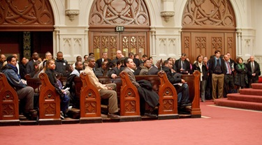 Catholic Charities of Boston holds an information meeting Jan. 13 at the Cathedral of the Holy Cross between members of the Haitian community and federal state and local authorities to discuss the situation in Haiti following a major earthquake Jan. 12 in the capital Port-au-Prince. Pilot photo/ Gregory L. Tracy