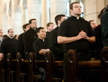 Prior to the 2010 March for Life, Cardinal Sean P. O'Malley celebrates Mass for seminarians and students from the Archdiocese of Boston at the Shrine of the Sacred Heart in Washington, DC. Pilot photo/ Gregory L. Tracy