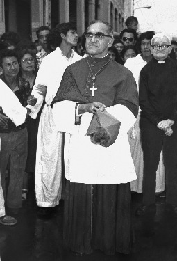 ARCHBISHOP ROMERO BLESSES FAITHFUL AFTER MASS