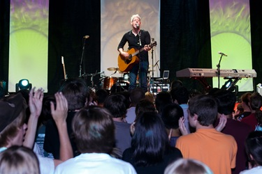 Matt Maher rocks the Teen Track during praise and worship on June 5.   (Photo by Thomas Spink)