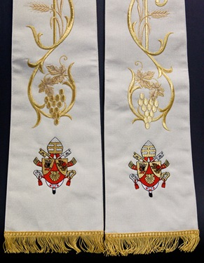 Stole commemorating the closing of the Year for Priests. Photo by Gregory L. Tracy