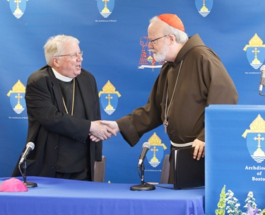 It was annouced at a June 30, 2010 press conference that Fathers Peter Uglietto and Arthur Kennedy have been named by Pope Benedict to be new auxiliary bishops of Boston.  Following the press conference the new bishops-elect concelbrated Mass with Cardinal Seán P. O'Malley.  Photo by Gregory L. Tracy, The Pilot