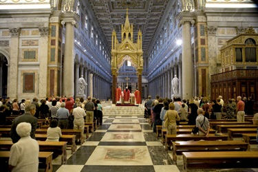 Rome, Sept. 19, 2007- The group celebrated Mass at the Basilica of St. Paul Outside the Walls.  After the Mass, the chains of St. Paul were brought from the basiica's famous reliquary to be venerated by the pilgrims.Catholic-Orthodox Pilgrimage to Rome, Istanbul and St. Petersburg led by Cardinal Sean O'Malley and Greek Orthodox Metropolitan Methodios Sept. 16 to Sept. 26, 2007.  Pilot photos by Gregory L. Tracy