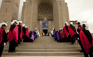 A Fourth Degree honor guard processes into the Basilica of the National Shrine of the Immaculate Conception for the Opening Mass of the 128th Supreme Convention Aug. 3.