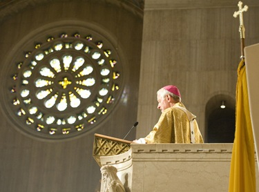 Archbishop Donald W. Wuerl, archbishop of Washington, delivers the homily during the opening Mass.