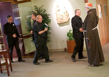 Cardinal's 'Jesu Caritas' meeting with recently ordained priests Sept. 15, 2010. Pilot photo by Gregory L. Tracy