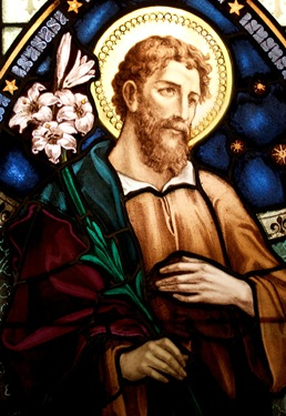 A stained glass window in the Archdiocese of Boston's Pastoral Center depicts St. Joseph, Patron of the Universal Church. Pilot photo by Gregory L. Tracy