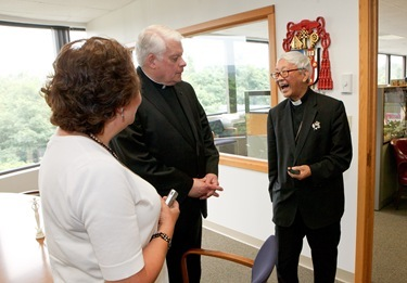 Retired Archbishop of Hong Kong Cardinal Joseph Zen Ze-kiun visits the Boston Archdiocese's Pastoral Center July 18, 2011. The visit was part of a multi-city tour by the cardinal of the U.S. and Canada visiting local Chinese Catholic communities and raising awareness of the situation of the Church in China. Pilot photo/ Gregory L. Tracy