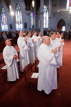 Ordination of Permanent Deacons Robert C. Balzarini, Vincent Gatto, James T. Hinkle, Michael C. Joens, Jonathan Jones, Brian K. Kean, Thomas O'Shea, Louis J. Piazza, William K. Reidy, and Paulo Torrens, Sept. 22, 2012 at the Cathedral of the Holy Cross.  Pilot photo/ Gregory L. Tracy