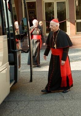 Cardinals Francis George and Edward Egan board a bus at Pontifical North American College in Rome on their way to a final meeting with Pope Benedict XVI February 28, 2013. Pilot photo/Gregory L. Tracy