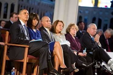 "President Barak Obama, the First Lady Michelle Obama, Massachusetts Gov. Deval Patrick, Diane Patrick, Angela Menino and Boston mayor Thomas Menino listen to the reading of Psalm 147 during the ""Healing Our City"" interfaith prayer service to honor those affected by the Boston Marathon bombings, held at the Cathedral of the Holy Cross in Boston April 18.<br /><br /><br /><br /><br /> Pilot photo/ Gregory L. Tracy<br /><br /><br /><br /><br />"
