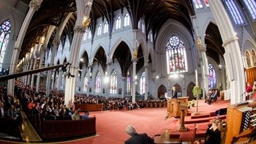"President Barack Obama speaks at the ""Healing Our City"" interfaith prayer service to honor those affected by the Boston Marathon bombings, held at the Cathedral of the Holy Cross in Boston April 18.<br /><br /><br /><br /><br /> Pilot photo/ Gregory L. Tracy<br /><br /><br /><br /><br />"