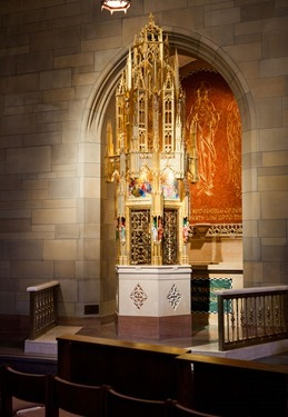 Tabernacle of St. Theresa of Avila Parish, West Roxbury created by Father Rayomnd Helmick, SJ. Pilot photo/ Gregory L. Tracy