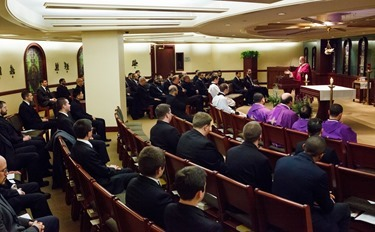 Cardinal Seán P. O'Malley celebrates an Advent Mass for all the seminarians of the Archdiocese of Boston at the Pastoral Center in Braintree Dec. 20, 2013. Pilot photo by Gregory L. Tracy