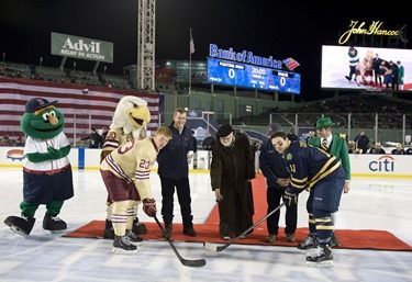 -Boston, MA, January 4,  2014-  Boston College faced off against Notre Dame during the second of two Hockey East games during City Frozen Fenway on January 4, 2013 at Fenway Park in Boston, Massachusetts.    (Photo by Michael Ivins/Boston Red Sox)