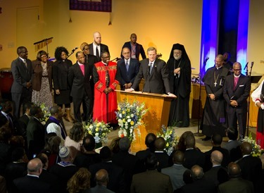 Prayer Service for Massachusetts Governor-elect Charlie Baker and Lieutenant Governor-elect Karyn Polito held on the eve of their inauguration, Jan. 7, 2015 at Congregation Lion of Juda in Boston. Pilot photo/ Christopher S. Pineo