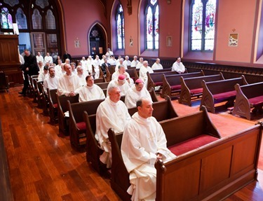 Cardinal Sean P. O'Malley ordains Anthony Cusack, Andrea Filippucci, Christopher Lowe, Peter Stamm, and Sinisa Ubiparipovic transitional deacons at the Cathedral of the Holy Cross Jan. 10, 2015. Pilot photo/ Gregory L. Tracy