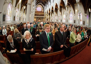 St. Patrick's Day Mass celebrated at the Cathedral of the Holy Cross March 17, 2015 by Bishop Robert Hennessey.<br /><br /> Pilot photo/ Gregory L. Tracy<br /><br />