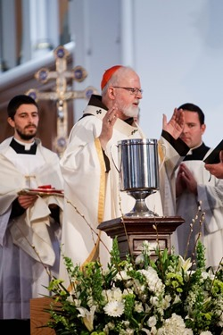 Cardinal Sean P. O'Malley celebrates the annual Chrism Mass at the Cathedral of the Holy Cross March 31, 2015.  The Mass at which the sacred oils are blessed is also an occasion to celebrate priestly fraternity. (Pilot photo/ Gregory L. Tracy)