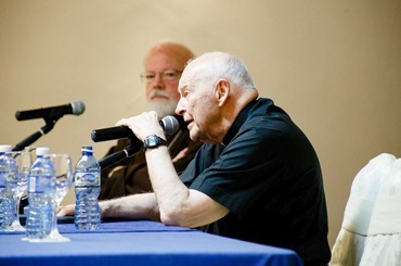 Sept. 19, 2015 -- Cardinals O'Malley and McCarrick speak to pilgrims about the history of the Church in Cuba and U.S.-Cuba relations. Pilot photo/ Gregory L. Tracy