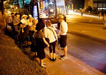Boston pilgrims in Cuba for the visit of Pope Francis make their way to Havana's Revolution Square in the early morning hours of September 20, 2015 for a Mass celebrated by the pope. Pilot photo/Gregory L. Tracy