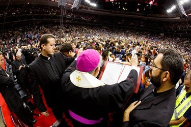 Kiko Arguello and Father Mario Pezzi, initiators of the Neocatechumenal Way, meet with Neocatechumenal communities of the United States in Philadelphia Sept. 28, 2015, following the World Meeting of Families and the visit of Pope Francis to the United States. Photo by Gregory L. Tracy