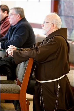 Cardinal Seán P. O'Malley meets with recently ordained priests at the Archdiocese of Boston's Pastoral Center Jan. 19, 2017. Pilot photo/ Gregory L. Tracy