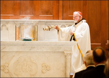 Cardinal Sean O'Malley celebrates the Mass of Dedication and Consecration of Our Lady of Good Voyage Shrine in South Boston, April 22, 2017. Pilot photo/ Gregory L. Tracy