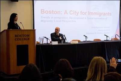 "Seminar on the ""Contribution of Migrants to Development and Social Innovation"" held at Boston College, March 22, 2018. Pilot photo/ Mark Labbe"