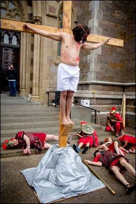 Good Friday living Stations of the Cross at the Cathedral of the Holy Cross, March 30, 2018. Pilot photo/ Mark Labbe
