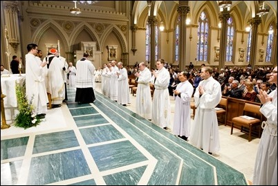 Ordination of Transitional Deacons Joseph Almeida, Maciej Kazimierz Araszkiewicz, Corey Bassett-Tirrell, Marcos Enrique, Timothy Paul Hynes, Przemyslaw Kasprzak, Brother John Edward Koelle OFM Cap., Brian Peter O'Hanlon, Mark Teodor Olejnik, Francis Huy Duc Pham, William Henry Robinson, Carignan Langlois Rouse, Victor Luna Vitug II, and James Paul Wargovich at Immaculate Conception Church in Lowell, April 14, 2018. Pilot photo/ Gregory L. Tracy
