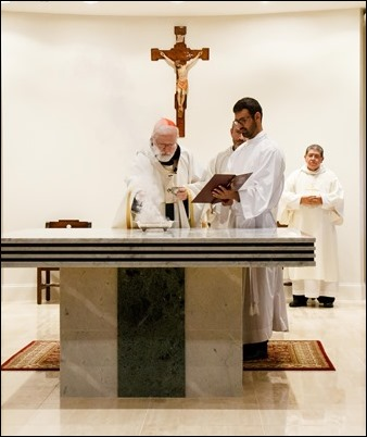 Dedication of the altar of the lower church of St. Rose of Lima, Chelsea, July 24, 2018. Photo by Jacqueline Tetrault, The Pilot