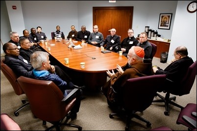 Cardinal O'Malley and Bishop Uglietto meet with extern priests working in the Archdiocese of Boston Oct. 23, 2018. (Pilot photo/ Gregory L. Tracy)