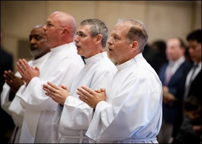 Ordination of Permanent Deacons Osvaldo Fernandez, Robert Horne, David Giangiordano, Charles Kelley, Francis Sung, Julio Sanchez, Jim Thompson and Cristino Ynfante at Holy Name Church in West Roxbury, Sept. 29, 2018. Pilot photo/ Gregory L. Tracy