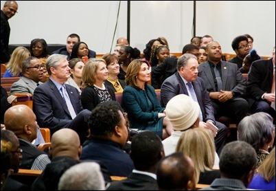 Interfaith prayer service MorningStar Baptist Church in Boston for Governor Charlie Baker and Lieutenant Governor Karen Polito on the eve of their inauguration for a second term, Jan. 2, 2019. Pilot photo/ Jacqueline Tetrault