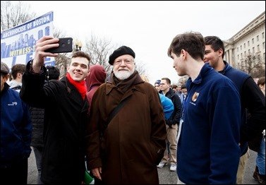 Cardinal Sean O'Malley and Boston pilgrims take part in the annual March for Life in Washington, D.C., Jan. 24, 2020. Pilot photo/ Gregory L. Tracy