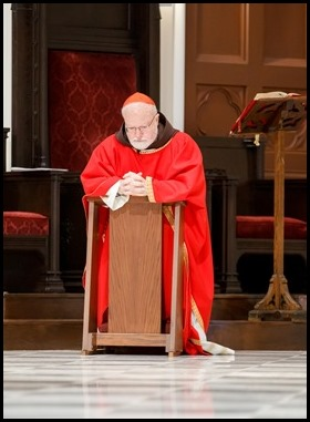 Cardinal Sean O'Malley celebrates Good Friday at the Cathedral of the Holy Cross, April 10, 2020. Phot by Gregory L. Tracy, The Pilot