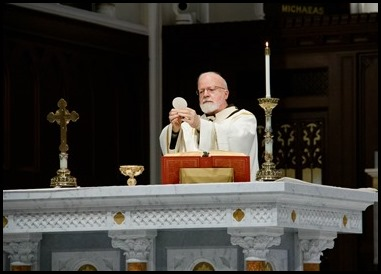 Cardinal Sean P. O'Malley celebrates Mass at the Cathedral of the Holy Cross, June 13, 2020, the Feast of Corpus Christi.  The feast marked the start of the archdiocese's Year of the Eucharist. Pilot photo/ Jacqueline Tetrault