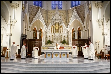 Presbyteral ordination of Fathers Joseph Hubbard, Dennis Nakkeeran, Matthew Norwood, Fernando Vivas, Daniel Zinger and James P. Ferus, SJ at the Cathedral of the Holy Cross, Aug. 1, 2020. Pilot photo/ Gregory L. Tracy