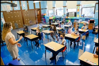 Students in kindergarten through second grade begin their first day of school at Immaculate Conception School in Revere Sept. 8, 2020. Pilot photo/ Gregory L. Tracy