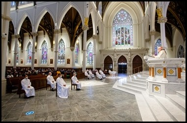 Ordination Mass of permanent deacons celebrated Oct. 3, 2020 at the Cathedral of the Holy Cross. Pilot photo/ Gregory L. Tracy