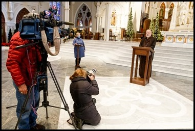 Cardinal Sean P. O'Malley and chief health care ethicist MC Sullivan speak to the media at the Cathedral of the Holy Cross about preparations for Christmas Masses in the Archdiocese of Boston, Dec. 22, 2020. Pilot photo/ Gregory L. Tracy