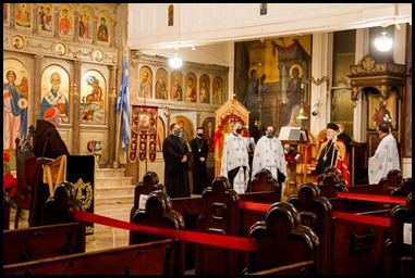 Cardinal Sean P. O'Malley visits St. John the Baptist Greek Orthodox Church in Boston as Metropolitan Methodios celebrates the Feast of Theophany, Jan. 6, 2021. Pilot photo/ Jacqueline Tetrault