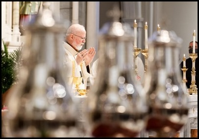 Cardinal O'Malley celebrates the annual Chrism Mass at the Cathedral of the Holy Cross, March 29, 2021.  Pilot photo/ Gregory L. Tracy